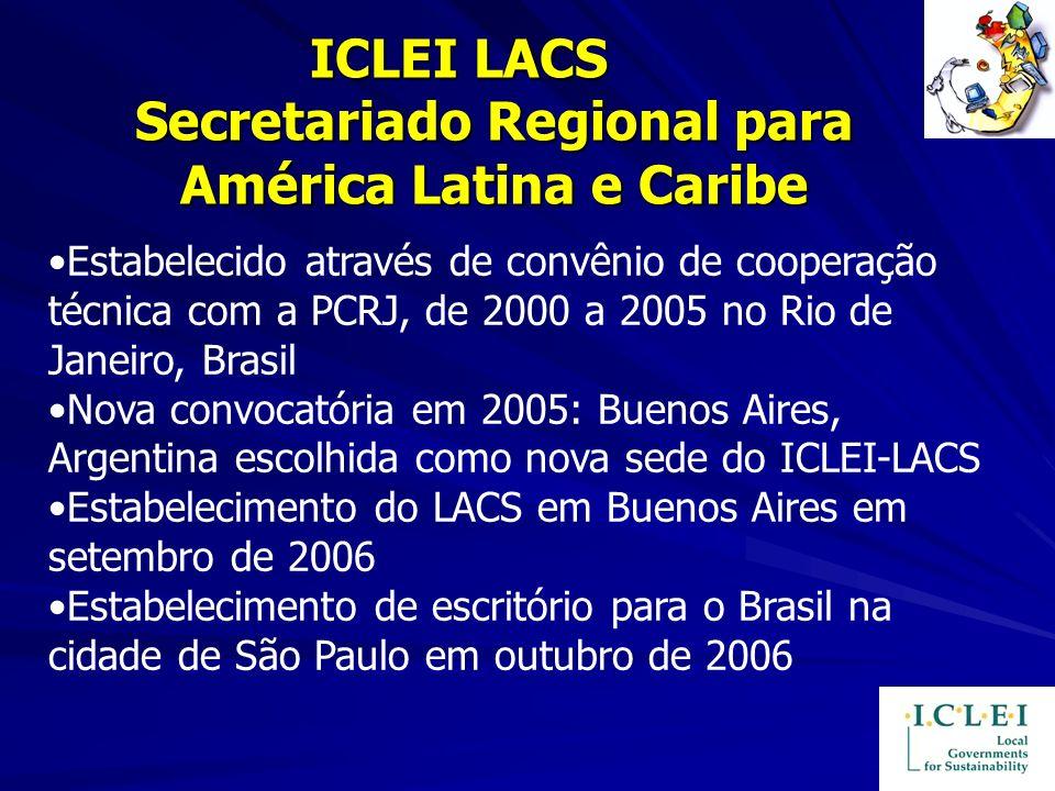 ICLEI LACS Secretariado Regional para América Latina e Caribe ICLEI LACS Secretariado Regional para América Latina e Caribe Estabelecido através de co