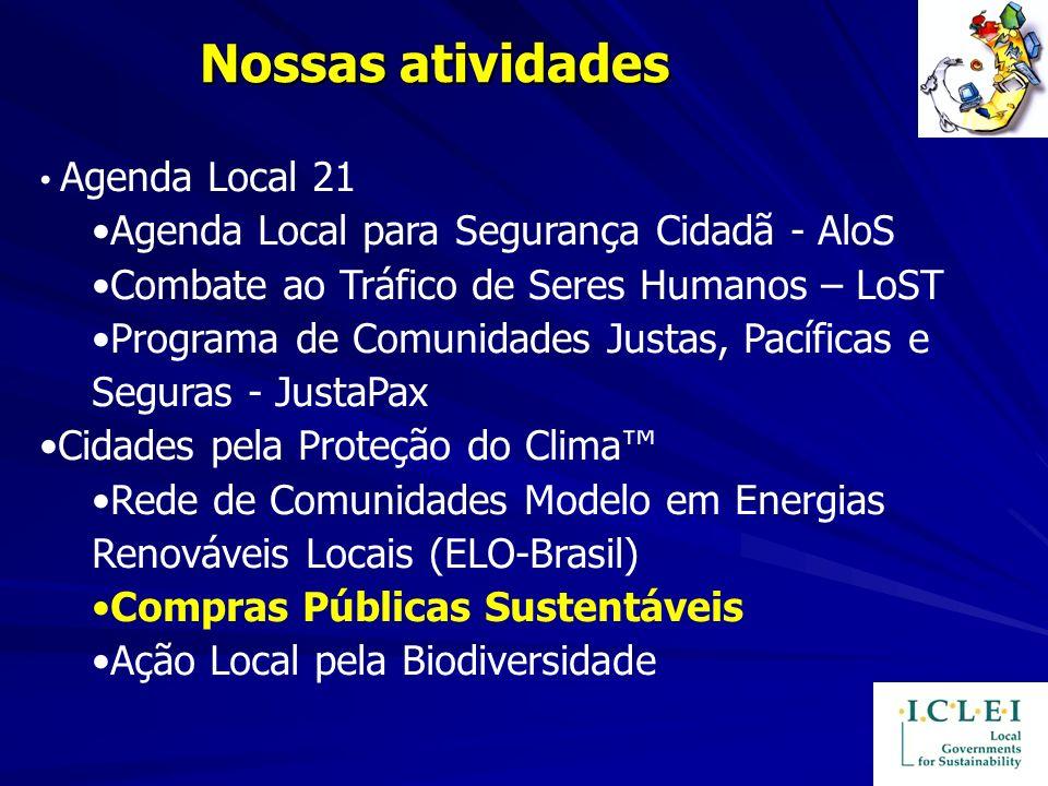 Nossas atividades Agenda Local 21 Agenda Local para Segurança Cidadã - AloS Combate ao Tráfico de Seres Humanos – LoST Programa de Comunidades Justas,