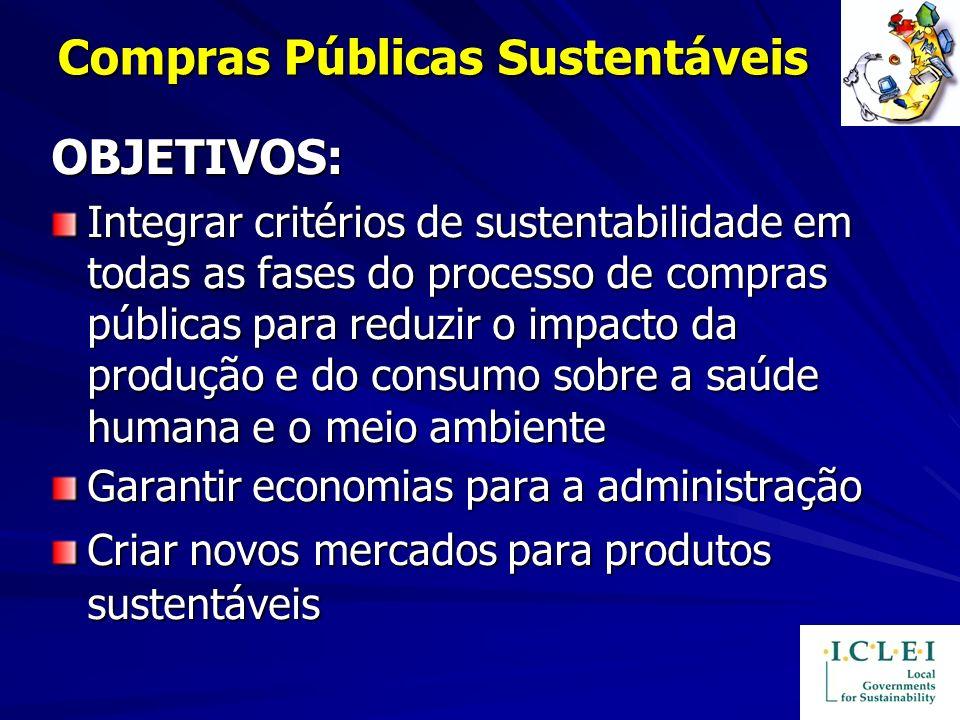 Compras Públicas Sustentáveis OBJETIVOS: Integrar critérios de sustentabilidade em todas as fases do processo de compras públicas para reduzir o impac