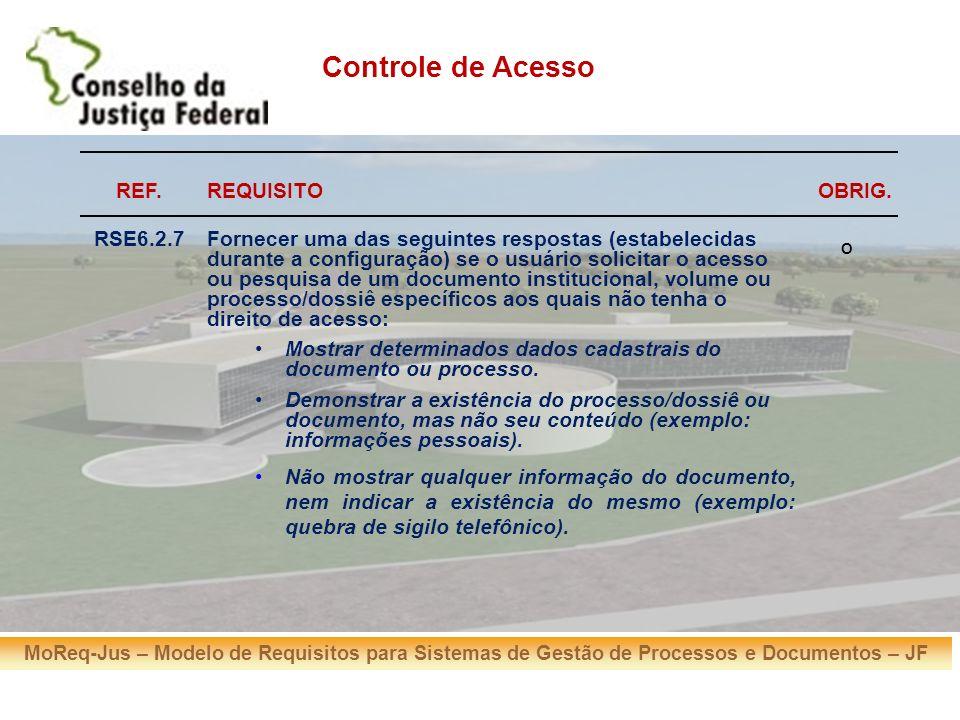 MoReq-Jus – Modelo de Requisitos para Sistemas de Gestão de Processos e Documentos – JF REF.REQUISITOOBRIG. RSE6.2.7Fornecer uma das seguintes respost