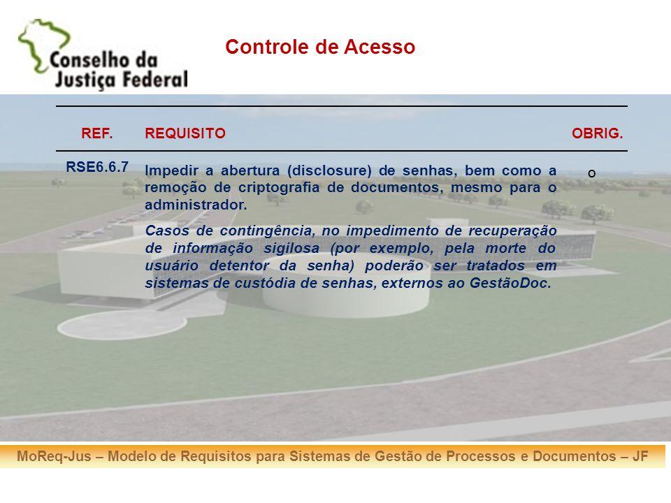 MoReq-Jus – Modelo de Requisitos para Sistemas de Gestão de Processos e Documentos – JF REF.REQUISITOOBRIG. RSE6.6.7 Impedir a abertura (disclosure) d