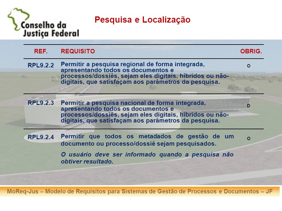 MoReq-Jus – Modelo de Requisitos para Sistemas de Gestão de Processos e Documentos – JF REF.REQUISITOOBRIG. RPL9.2.2 Permitir a pesquisa regional de f