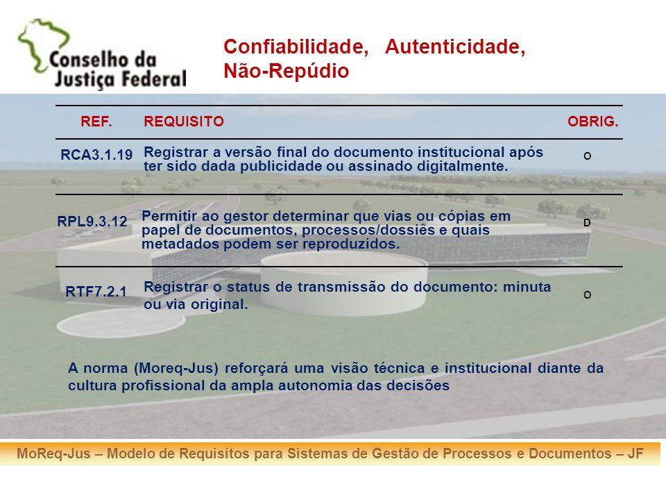MoReq-Jus – Modelo de Requisitos para Sistemas de Gestão de Processos e Documentos – JF REF.REQUISITOOBRIG. RCA3.1.19 Registrar a versão final do docu