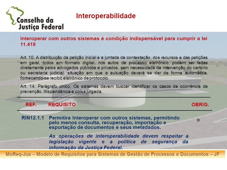 MoReq-Jus – Modelo de Requisitos para Sistemas de Gestão de Processos e Documentos – JF REF.REQUISITOOBRIG. RIN12.1.1Permitira Interoperar com outros