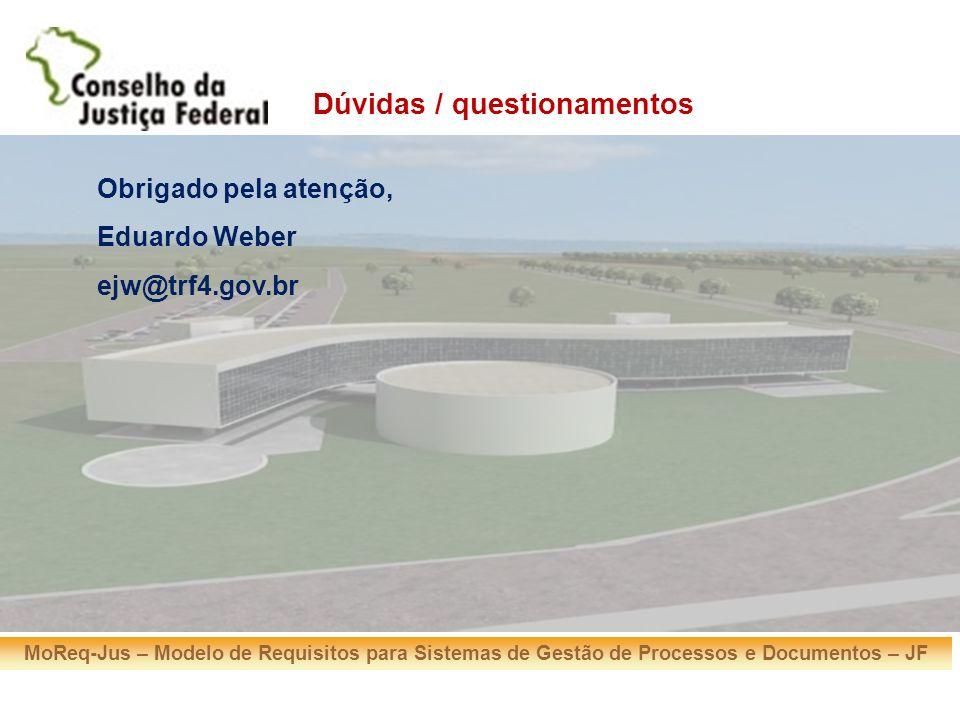 MoReq-Jus – Modelo de Requisitos para Sistemas de Gestão de Processos e Documentos – JF Obrigado pela atenção, Eduardo Weber ejw@trf4.gov.br Dúvidas /