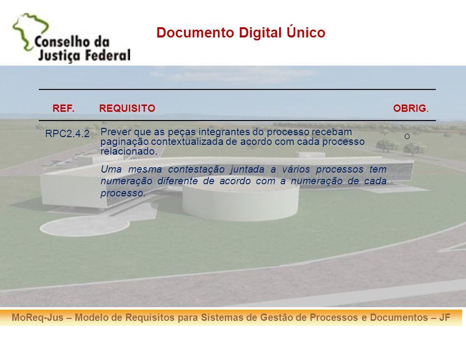 MoReq-Jus – Modelo de Requisitos para Sistemas de Gestão de Processos e Documentos – JF REF. Documento Digital Único REQUISITOOBRIG. RPC2.4.2 Prever q