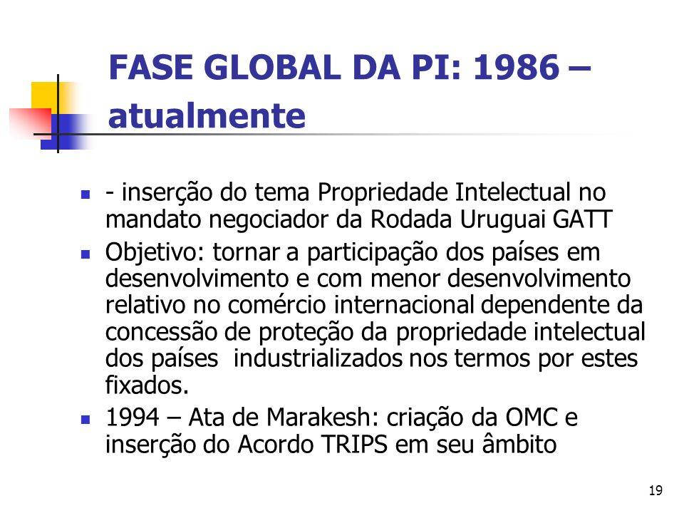 19 FASE GLOBAL DA PI: 1986 – atualmente - inserção do tema Propriedade Intelectual no mandato negociador da Rodada Uruguai GATT Objetivo: tornar a par