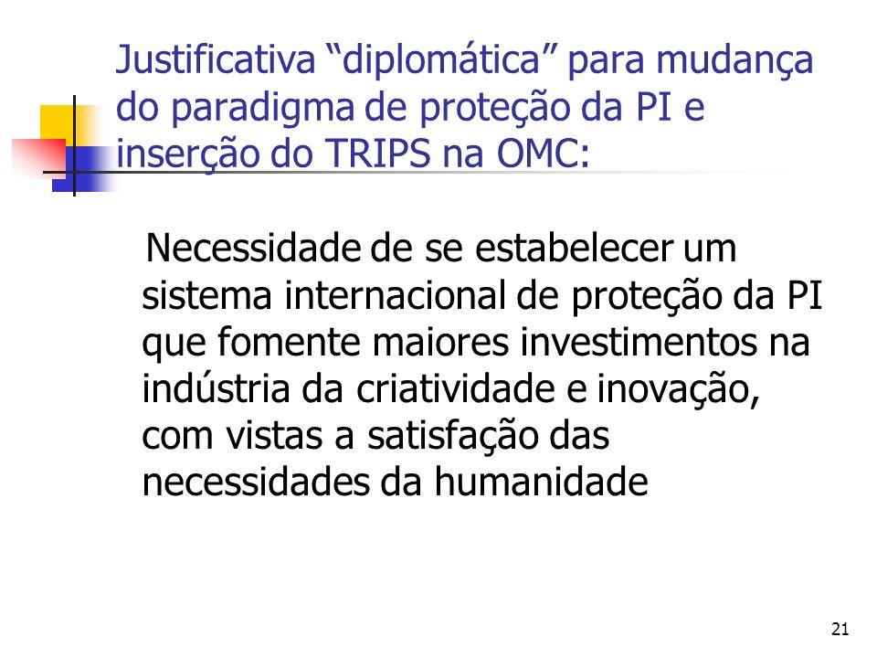 21 Justificativa diplomática para mudança do paradigma de proteção da PI e inserção do TRIPS na OMC: Necessidade de se estabelecer um sistema internac