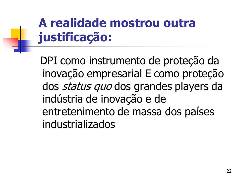 22 A realidade mostrou outra justificação: DPI como instrumento de proteção da inovação empresarial E como proteção dos status quo dos grandes players