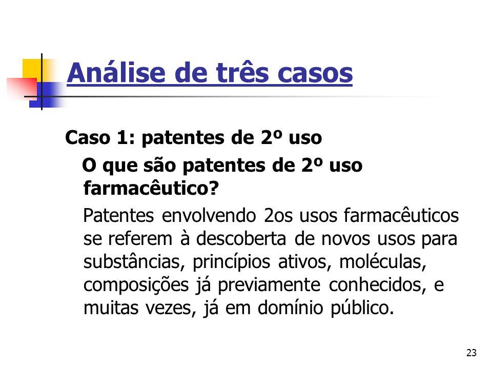 23 Análise de três casos Caso 1: patentes de 2º uso O que são patentes de 2º uso farmacêutico? Patentes envolvendo 2os usos farmacêuticos se referem à