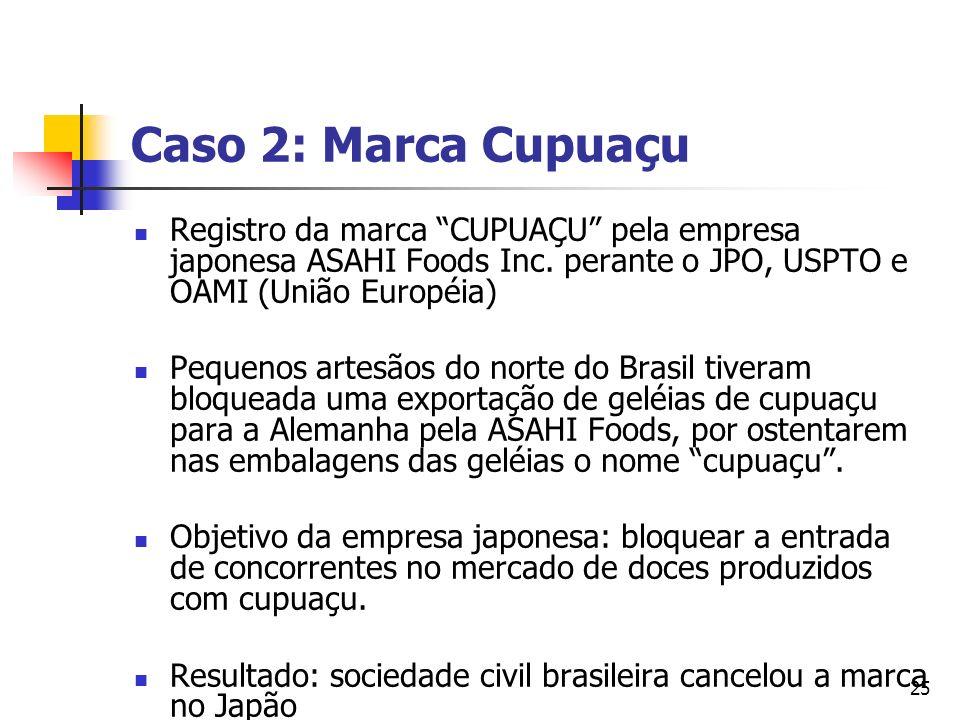 25 Caso 2: Marca Cupuaçu Registro da marca CUPUAÇU pela empresa japonesa ASAHI Foods Inc. perante o JPO, USPTO e OAMI (União Européia) Pequenos artesã