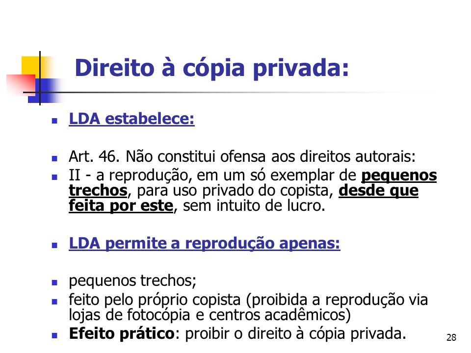 28 Direito à cópia privada: LDA estabelece: Art. 46. Não constitui ofensa aos direitos autorais: II - a reprodução, em um só exemplar de pequenos trec