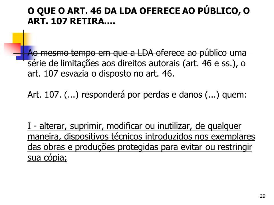 29 O QUE O ART. 46 DA LDA OFERECE AO PÚBLICO, O ART. 107 RETIRA.... Ao mesmo tempo em que a LDA oferece ao público uma série de limitações aos direito