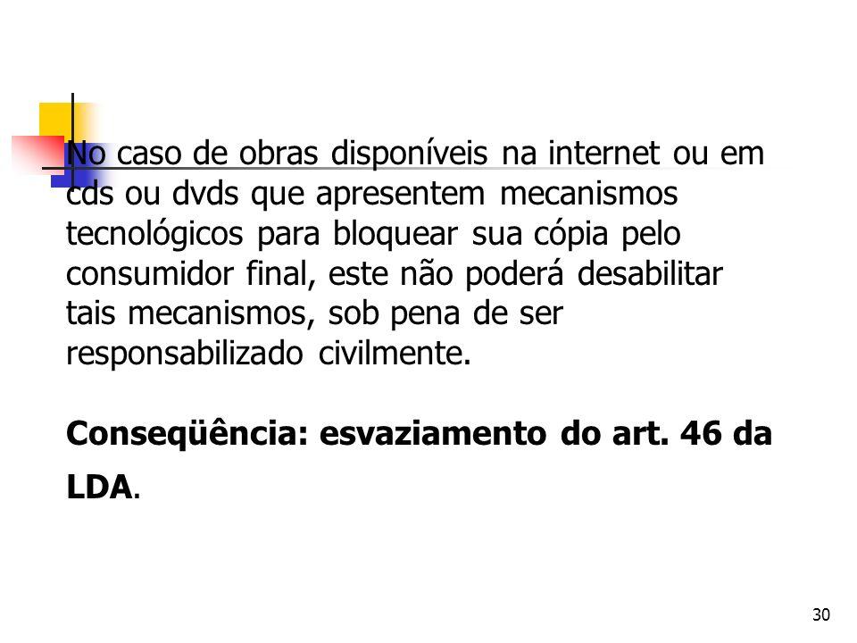 30 No caso de obras disponíveis na internet ou em cds ou dvds que apresentem mecanismos tecnológicos para bloquear sua cópia pelo consumidor final, es