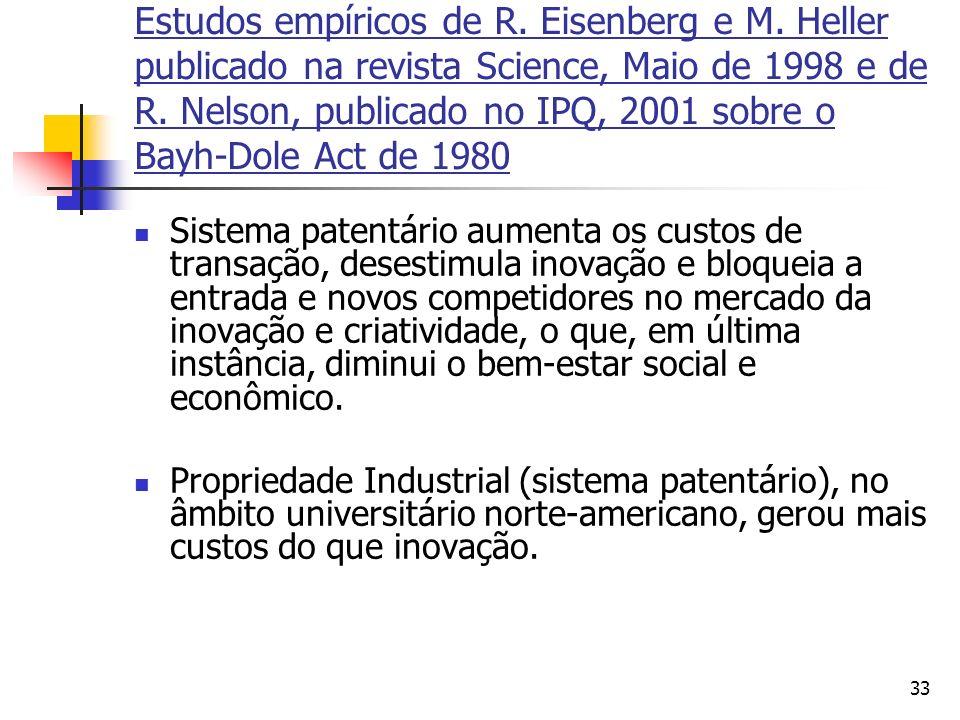 33 Estudos empíricos de R. Eisenberg e M. Heller publicado na revista Science, Maio de 1998 e de R. Nelson, publicado no IPQ, 2001 sobre o Bayh-Dole A