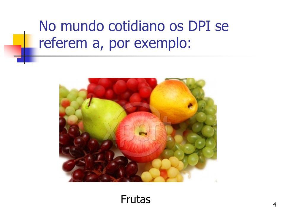 4 No mundo cotidiano os DPI se referem a, por exemplo: Frutas