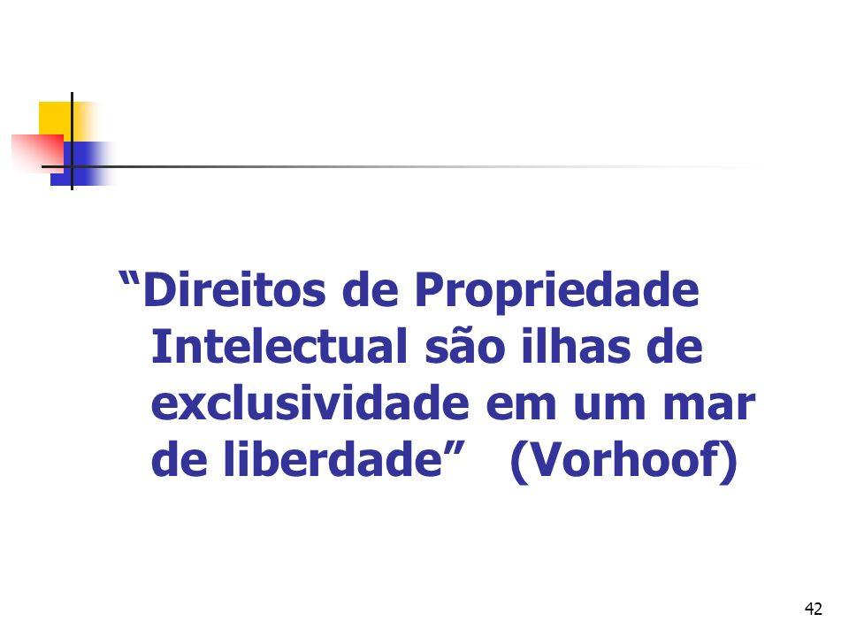 42 Direitos de Propriedade Intelectual são ilhas de exclusividade em um mar de liberdade (Vorhoof)