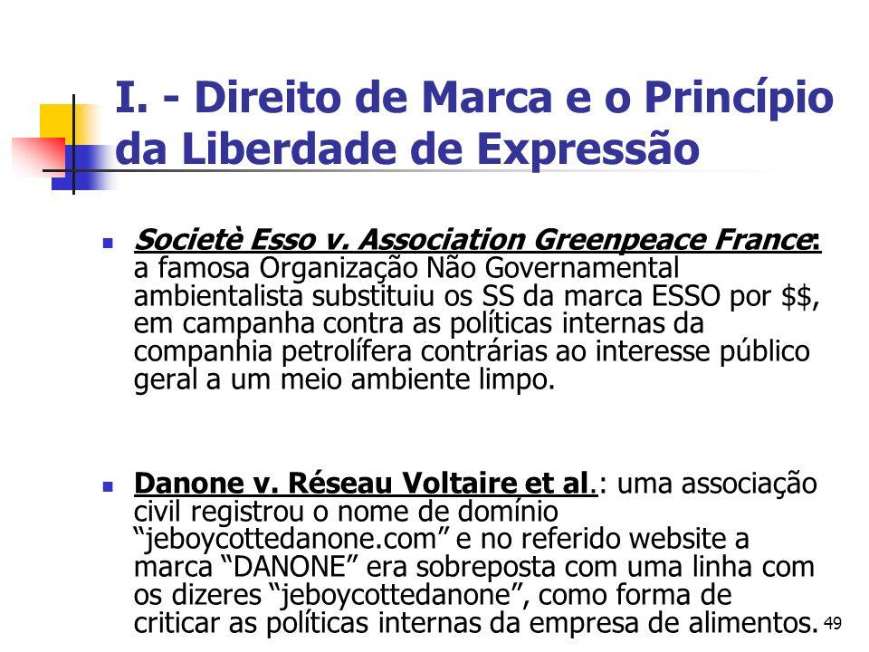 49 I. - Direito de Marca e o Princípio da Liberdade de Expressão Societè Esso v. Association Greenpeace France: a famosa Organização Não Governamental