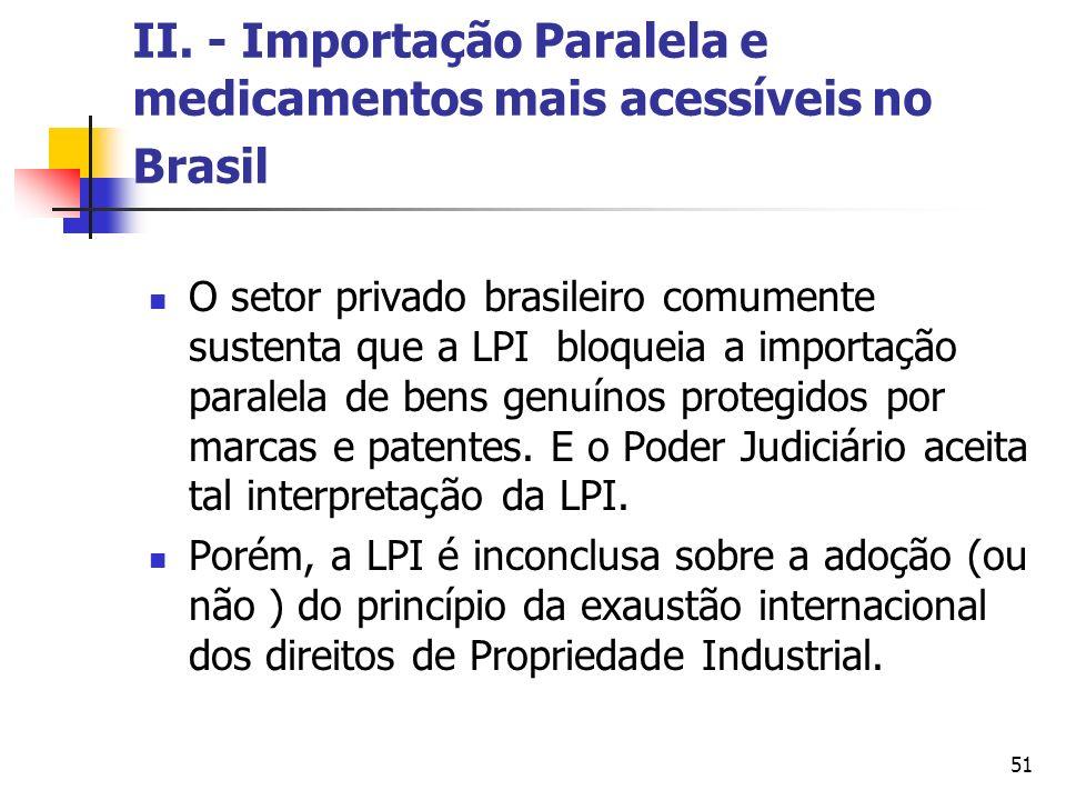 51 II. - Importação Paralela e medicamentos mais acessíveis no Brasil O setor privado brasileiro comumente sustenta que a LPI bloqueia a importação pa