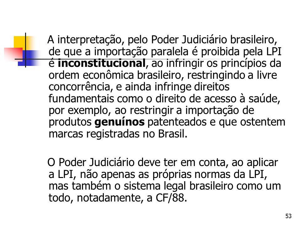 53 A interpretação, pelo Poder Judiciário brasileiro, de que a importação paralela é proibida pela LPI é inconstitucional, ao infringir os princípios