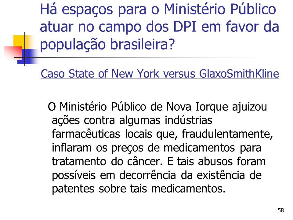 58 Há espaços para o Ministério Público atuar no campo dos DPI em favor da população brasileira? Caso State of New York versus GlaxoSmithKline O Minis