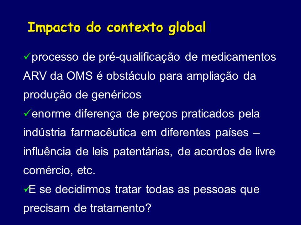 Impacto do contexto global processo de pré-qualificação de medicamentos ARV da OMS é obstáculo para ampliação da produção de genéricos enorme diferenç