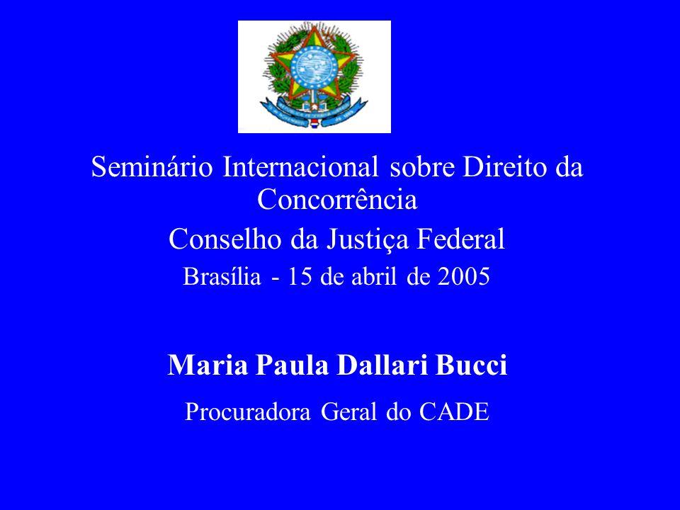 Seminário Internacional sobre Direito da Concorrência Conselho da Justiça Federal Brasília - 15 de abril de 2005 Maria Paula Dallari Bucci Procuradora