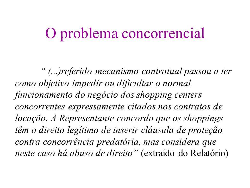 O problema concorrencial (...)referido mecanismo contratual passou a ter como objetivo impedir ou dificultar o normal funcionamento do negócio dos sho
