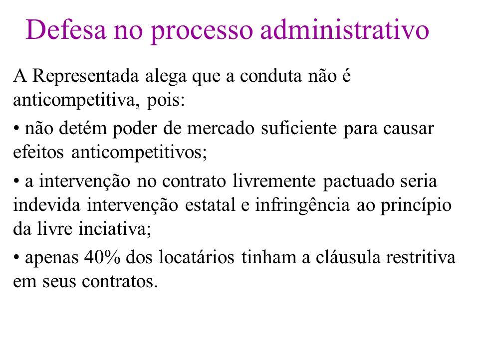 Defesa no processo administrativo A Representada alega que a conduta não é anticompetitiva, pois: não detém poder de mercado suficiente para causar ef