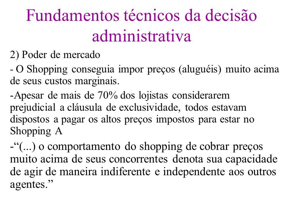 Fundamentos técnicos da decisão administrativa 2) Poder de mercado - O Shopping conseguia impor preços (aluguéis) muito acima de seus custos marginais
