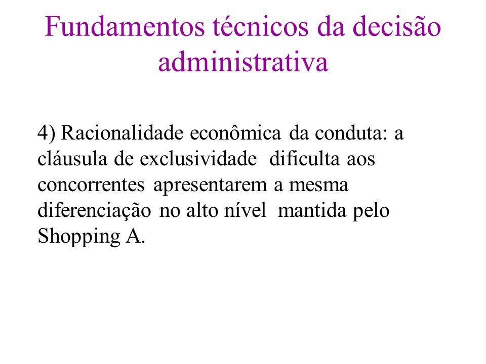 Fundamentos técnicos da decisão administrativa 4) Racionalidade econômica da conduta: a cláusula de exclusividade dificulta aos concorrentes apresenta