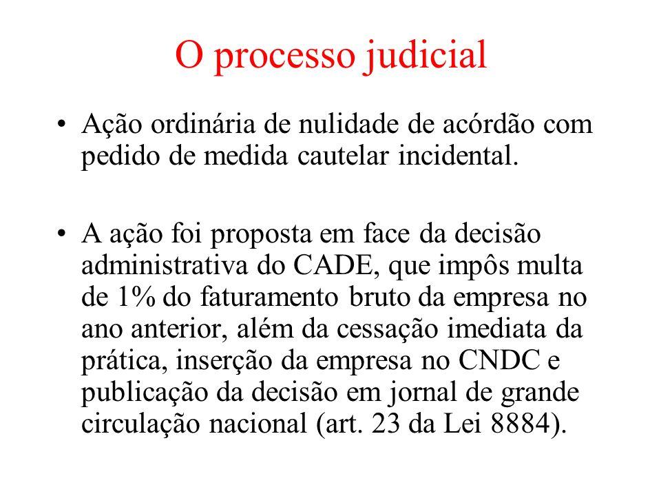 O processo judicial Ação ordinária de nulidade de acórdão com pedido de medida cautelar incidental. A ação foi proposta em face da decisão administrat