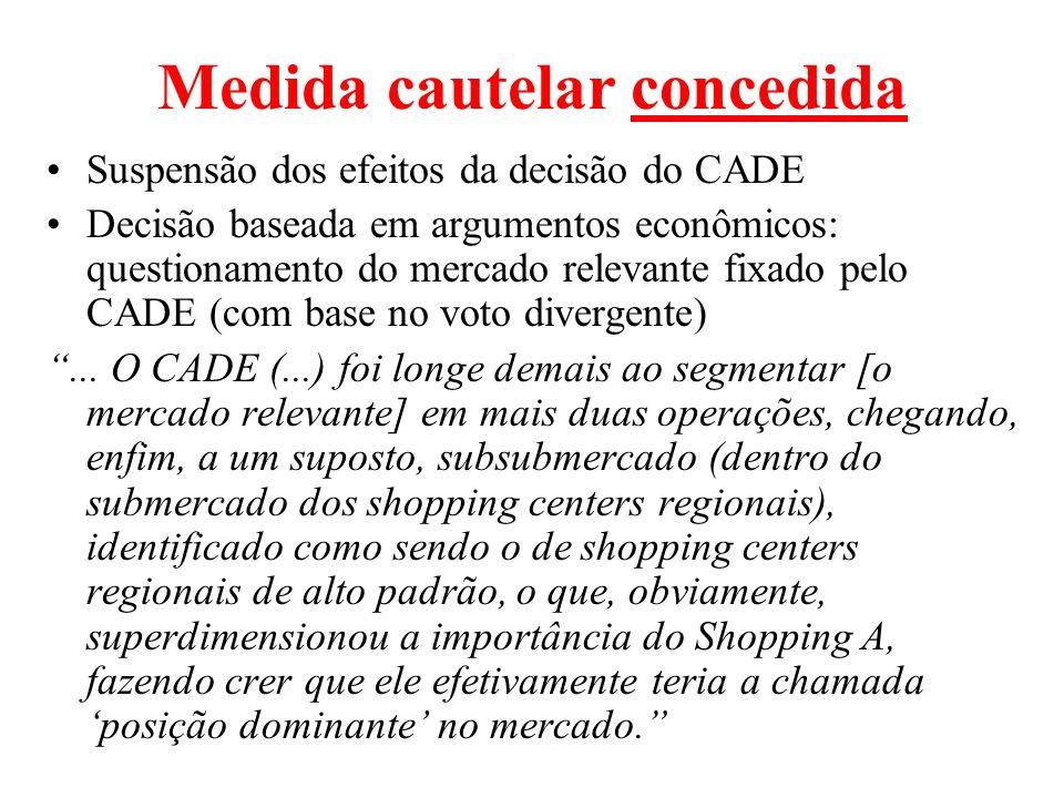 Medida cautelar concedida Suspensão dos efeitos da decisão do CADE Decisão baseada em argumentos econômicos: questionamento do mercado relevante fixad