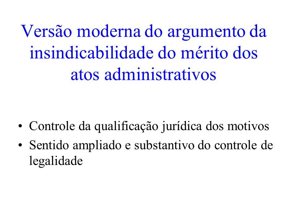 Versão moderna do argumento da insindicabilidade do mérito dos atos administrativos Controle da qualificação jurídica dos motivos Sentido ampliado e s