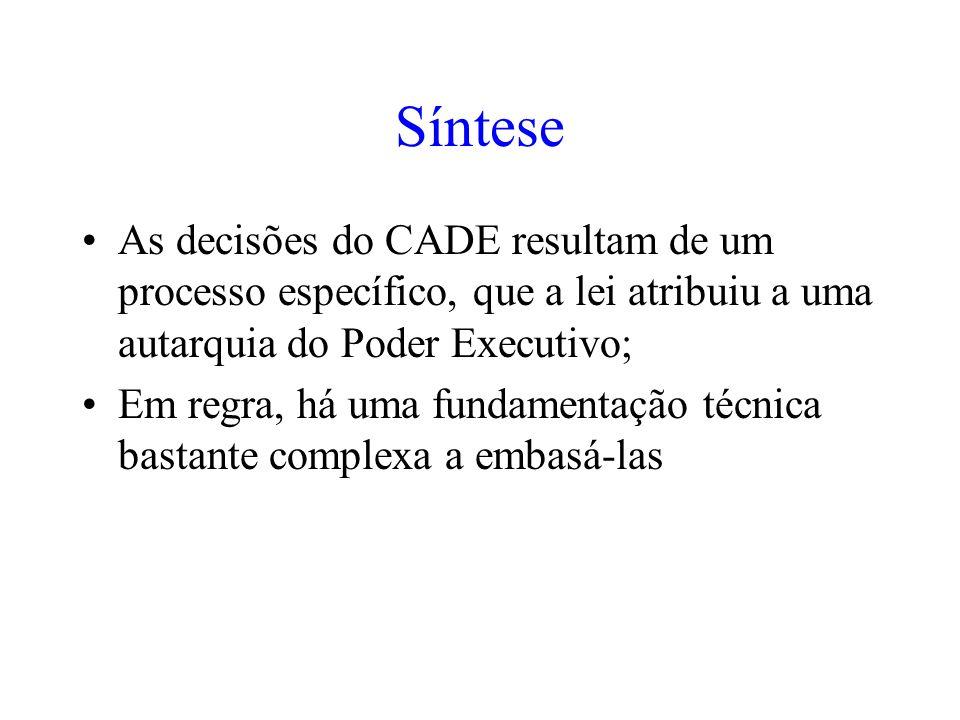 Síntese As decisões do CADE resultam de um processo específico, que a lei atribuiu a uma autarquia do Poder Executivo; Em regra, há uma fundamentação