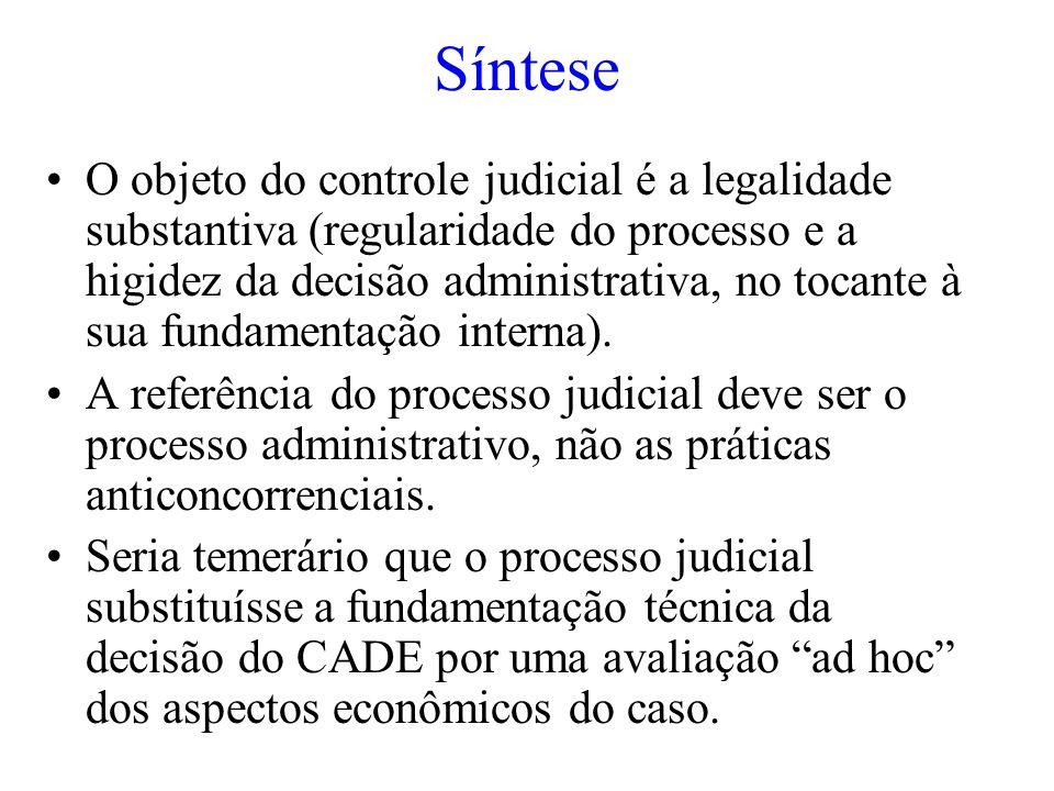 Síntese O objeto do controle judicial é a legalidade substantiva (regularidade do processo e a higidez da decisão administrativa, no tocante à sua fun