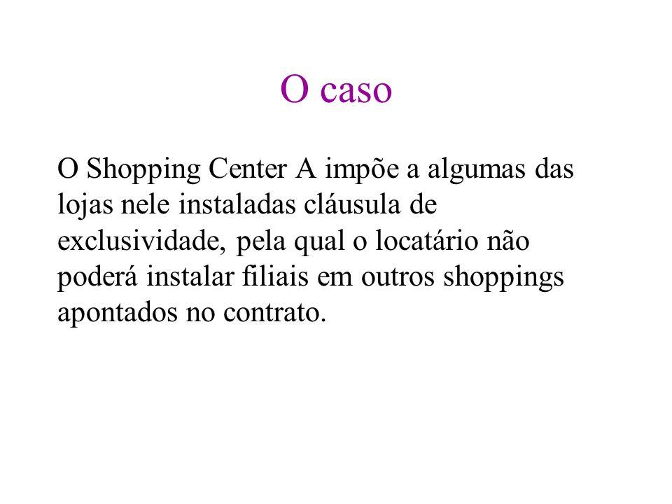 O caso O Shopping Center A impõe a algumas das lojas nele instaladas cláusula de exclusividade, pela qual o locatário não poderá instalar filiais em o