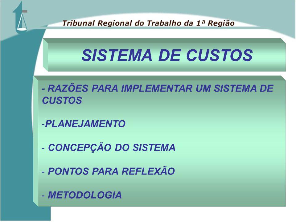 SISTEMA DE CUSTOS - RAZÕES PARA IMPLEMENTAR UM SISTEMA DE CUSTOS -PLANEJAMENTO - CONCEPÇÃO DO SISTEMA - PONTOS PARA REFLEXÃO - METODOLOGIA