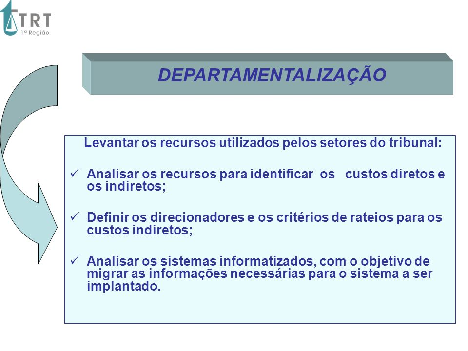 Levantar os recursos utilizados pelos setores do tribunal: Analisar os recursos para identificar os custos diretos e os indiretos; Definir os direcion