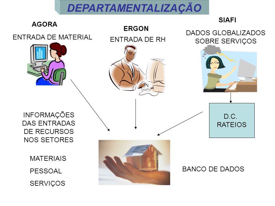 AGORA ERGON SIAFI D.C. RATEIOS BANCO DE DADOS MATERIAIS PESSOAL SERVIÇOS INFORMAÇÕES DAS ENTRADAS DE RECURSOS NOS SETORES ENTRADA DE MATERIAL ENTRADA