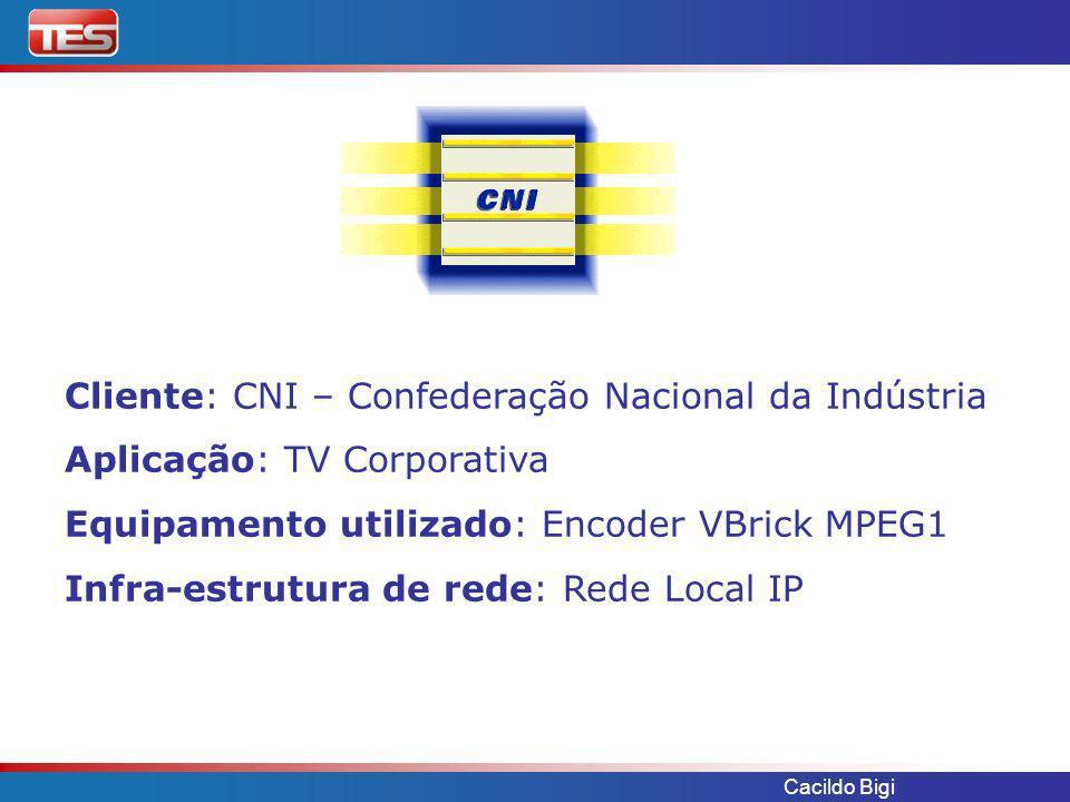 Cacildo Bigi Necessidade: Distribuir via multicast em tempo real 1 canal recebido via satélite ou pronunciamentos de diretoria.