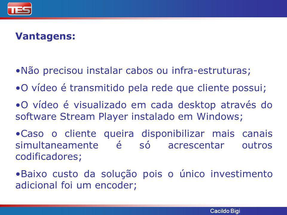 Cacildo Bigi Solução TES proposta: Utilizar o codificador de vídeo VBrick VBXcast para enviar o vídeo em MPEG4 numa banda de 64 Kb/s via satélite, para ser distribuída em varias localidades nos desktop dos especialistas.
