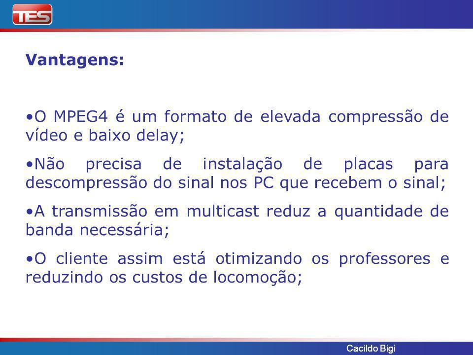 Cacildo Bigi Cliente: RPC – Rede Paranaense de Comunicação Aplicação: Transporte de Vídeo e Áudio para TV Broadcast Equipamento utilizado: VBrick VB6200, VB4200, VB5200 Infra-estrutura de rede: Link dedicado IP