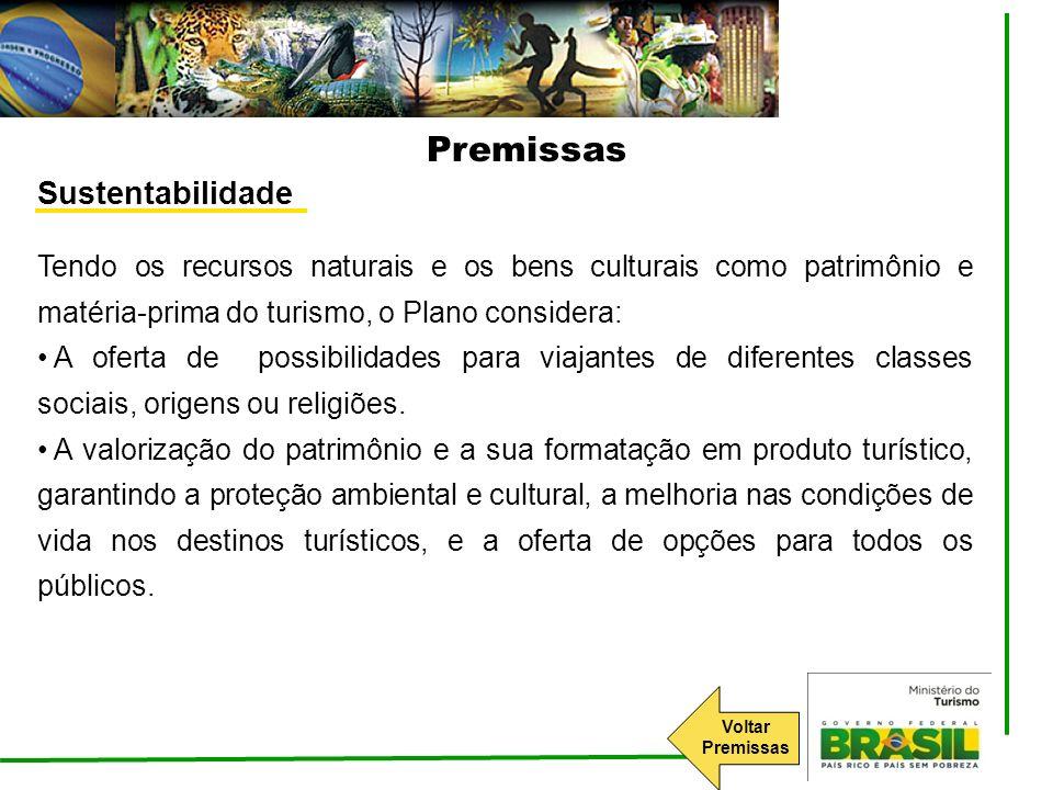 Sustentabilidade Tendo os recursos naturais e os bens culturais como patrimônio e matéria-prima do turismo, o Plano considera: A oferta de possibilida