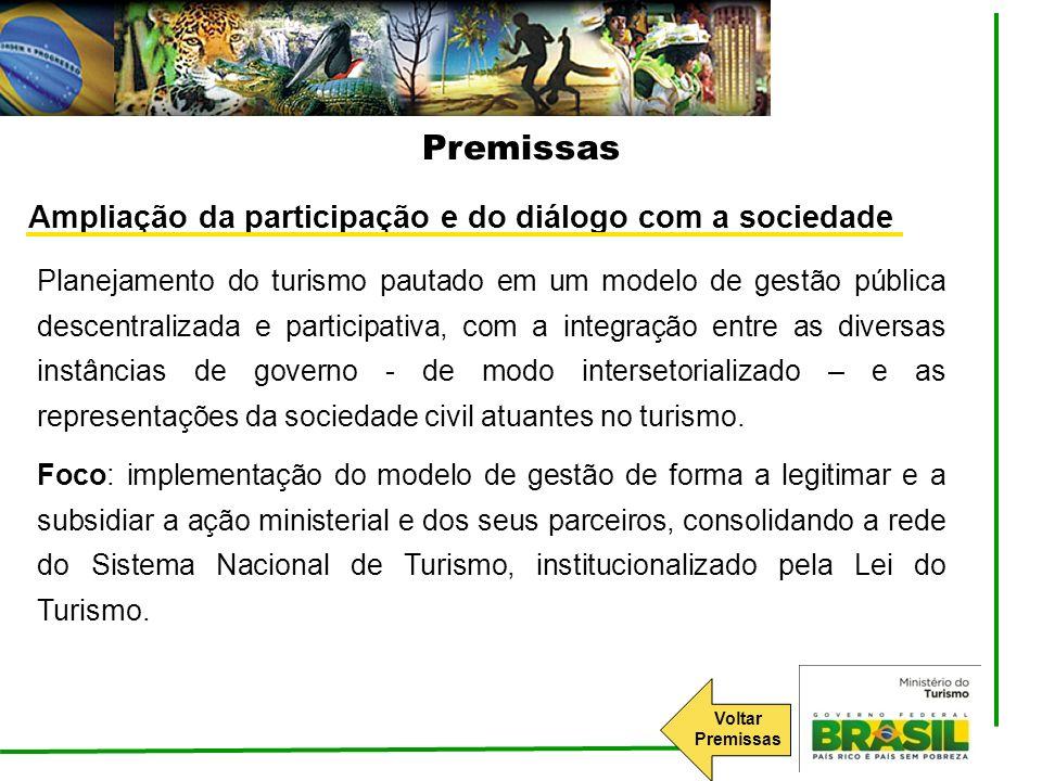Ampliação da participação e do diálogo com a sociedade Planejamento do turismo pautado em um modelo de gestão pública descentralizada e participativa,