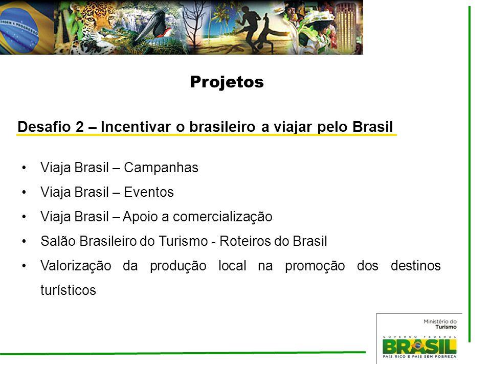 Projetos Viaja Brasil – Campanhas Viaja Brasil – Eventos Viaja Brasil – Apoio a comercialização Salão Brasileiro do Turismo - Roteiros do Brasil Valor
