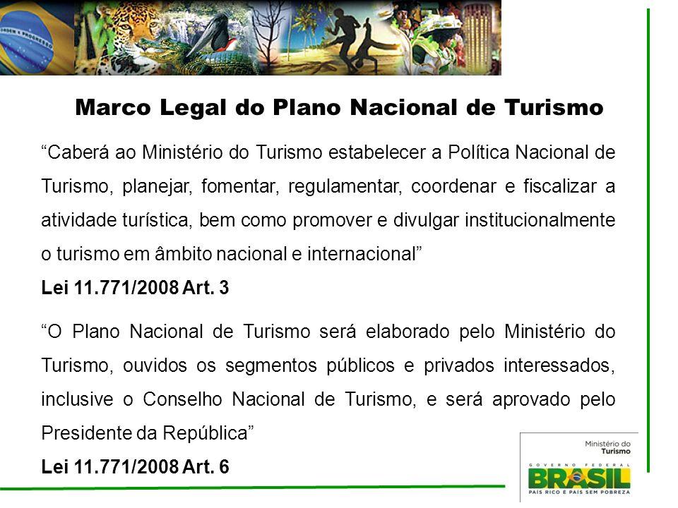 Caberá ao Ministério do Turismo estabelecer a Política Nacional de Turismo, planejar, fomentar, regulamentar, coordenar e fiscalizar a atividade turís