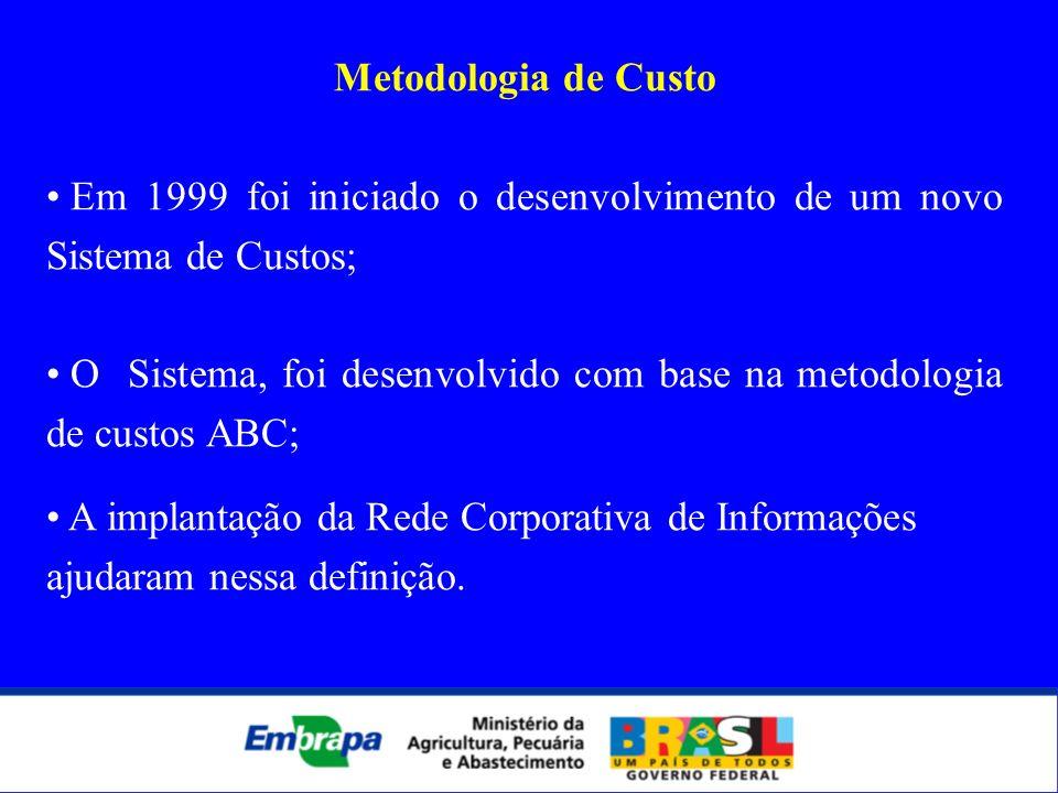 Metodologia de Custo Em 1999 foi iniciado o desenvolvimento de um novo Sistema de Custos; O Sistema, foi desenvolvido com base na metodologia de custo