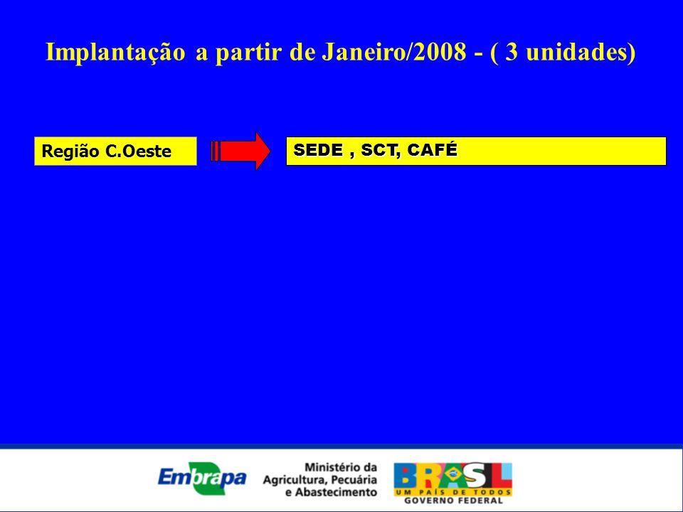 SEDE, SCT, CAFÉ Região C.Oeste Implantação a partir de Janeiro/2008 - ( 3 unidades)