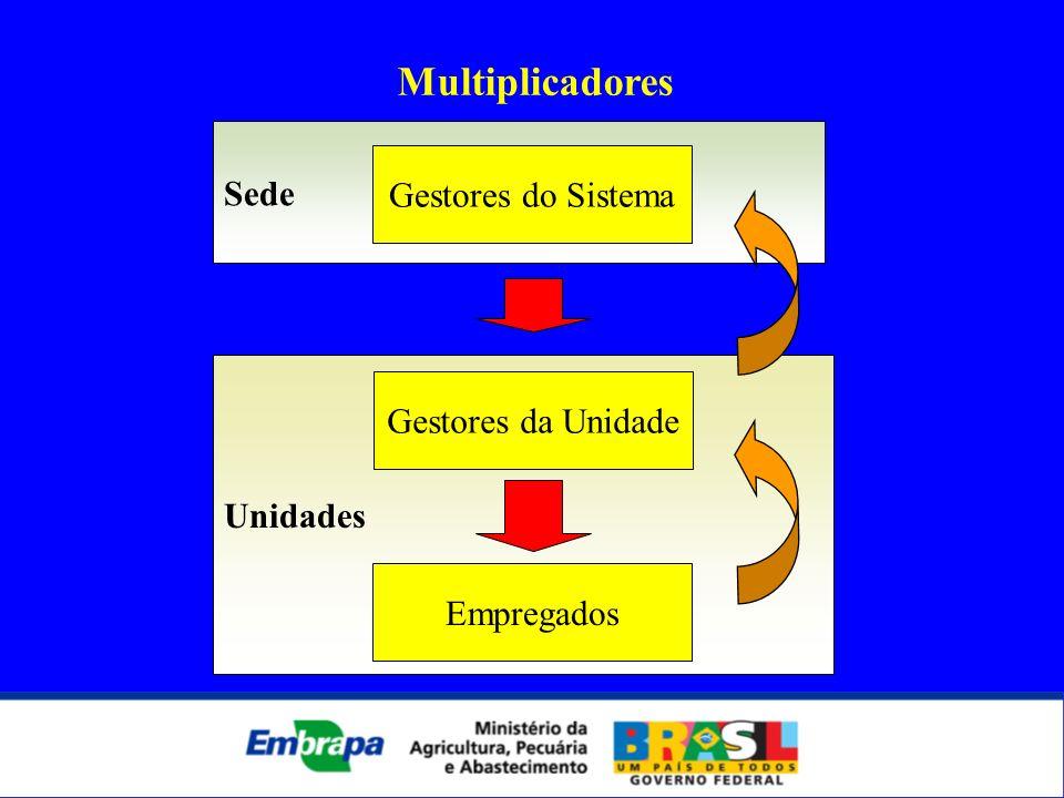Sede Unidades Multiplicadores Gestores do Sistema Gestores da Unidade Empregados